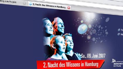 Screenshot der Seite 'www.nachtdeswissens.de' vom 14.03.07